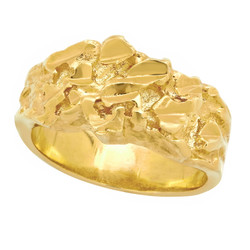 Women's 10mm Textured 14k Yellow Gold Plated Flat Nugget Ring + Gift Box