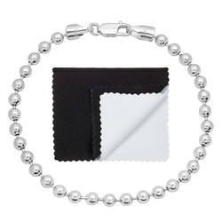4mm Solid .925 Sterling Silver Ball Military Ball Chain Bracelet + Gift Box