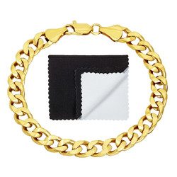 7.5mm 14k Yellow Gold Plated Beveled Curb Chain Bracelet + Gift Box