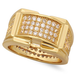Iced Out 14k Gold Plated Micropave CZ 12.5mm Framed Center Band Ring + Microfiber