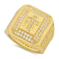 Hip Hop 14k Gold Plated Iced Out Micropave CZ 21.5mm Cross Bling Ring + Microfiber