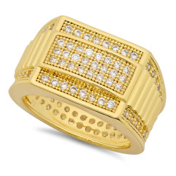 Hip Hop 14k Gold Plated Iced Out CZ 14.5mm Stacked Bands Bling Ring + Microfiber