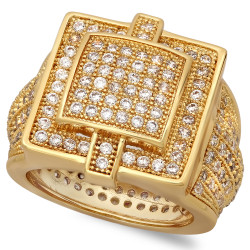 14k Gold Plated Square Micro-Pave Iced Out Cubic Zirconia Hip Hop Ring + Gift Box