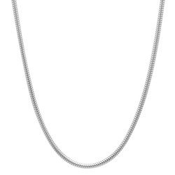 1.8mm Solid .925 Sterling Silver Round Snake Chain Necklace