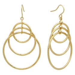 Gold Plated Triple Orbital Spiral Texture Round Hoop Earrings + Microfiber