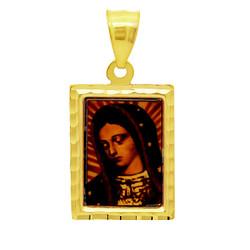 14k Gold Plated Framed Portrait of Virgin Mary 22mm x 29mm Pendant + Microfiber