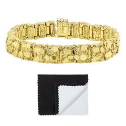 Thick 12.5mm 14k Gold Plated Chunky Nugget Textured Link Bracelet + Microfiber