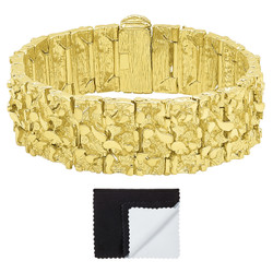 Thick 22.5mm 14k Gold Plated Chunky Nugget Textured Bracelet + Microfiber
