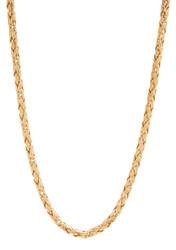 3.3mm 14k Yellow Gold Plated Flat Byzantine Chain Necklace + Gift Box