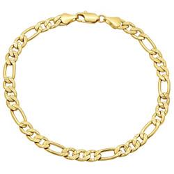 5.7mm Diamond-Cut 14k Yellow Gold Plated Flat Figaro Chain Bracelet + Gift Box