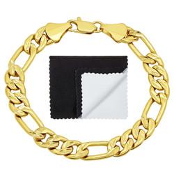 9mm Diamond-Cut 14k Yellow Gold Plated Flat Figaro Chain Bracelet + Gift Box