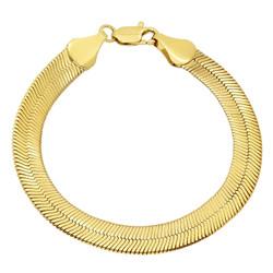 9mm 14k Yellow Gold Plated Flat Herringbone Chain Bracelet