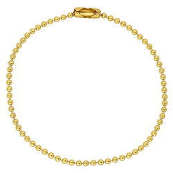 2mm-3mm Polished 0.25 mils (6 microns) 14k Yellow Gold Plated Ball Military Ball Chain Anklet