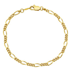 3mm-5mm Polished 0.25 mils (6 microns) 14k Yellow Gold Plated Flat Figaro Chain Anklet