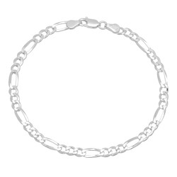 2mm-4mm Solid .925 Sterling Silver Flat Figaro Chain Anklet