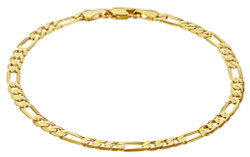 Women's 4mm-6mm Polished 0.25 mils (6 microns) 14k Yellow Gold Plated Flat Figaro Chain Anklet