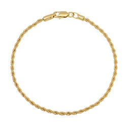 2mm-5mm Polished 14k Yellow Gold Plated Twisted Rope Chain Anklet