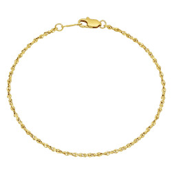Women's 2mm-3mm Polished 0.25 mils (6 microns) 14k Yellow Gold Plated Twisted Singapore Chain Anklet
