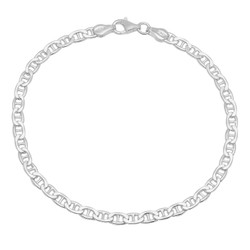 1mm-3mm Solid .925 Sterling Silver Flat Mariner Chain Anklet