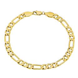5mm-9mm Textured 14k Yellow Gold Plated Flat Figaro Chain Link Bracelet