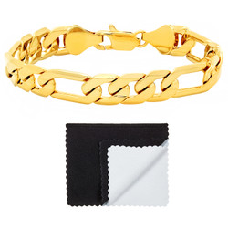 4mm-9mm Polished 14k Yellow Gold Plated Flat Figaro Figaro Chain Link Bracelet