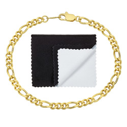 3mm-5mm Polished 0.25 mils (6 microns) 14k Yellow Gold Plated Flat Figaro Chain Anklet, 7'-9