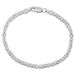 3mm-4mm Solid .925 Sterling Silver Flat Byzantine Chain Anklet
