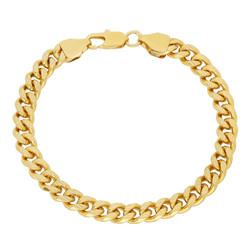 11mm-7mm Textured 14k Yellow Gold Plated Flat Curb Chain Bracelet