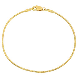 2mm-2mm Polished 0.25 mils (6 microns) 14k Yellow Gold Plated Round Snake Chain Anklet