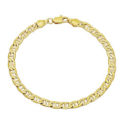3mm-12mm Polished 0.25 mils (6 microns) 14k Yellow Gold Plated Flat Mariner Chain Anklet