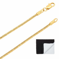 2mm-2mm Diamond-Cut 14k Yellow Gold Plated Round Snake Chain Necklace or Bracelet