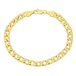 6mm-11mm Polished 0.25 mils (6 microns) 14k Yellow Gold Plated Flat Curb Chain Anklet