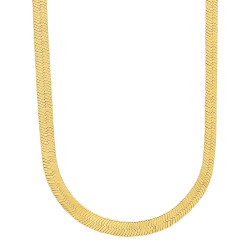 4mm-10mm 14k Yellow Gold Plated Flat Herringbone Chain Necklace or Bracelet