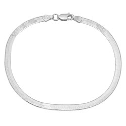3.1mm Solid .925 Sterling Silver Flat Herringbone Chain Anklet