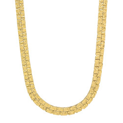 6mm-8mm 14k Yellow Gold Plated Flat Nugget Chain Necklace or Bracelet
