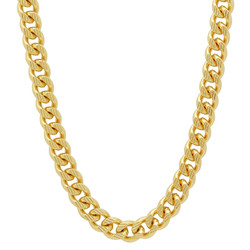 Men's 11mm-7mm Textured 14k Yellow Gold Plated Flat Cuban Link Curb Chain Necklace