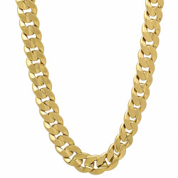 6mm-9mm 14k Yellow Gold Plated Flat Cuban Link Curb Chain Necklace