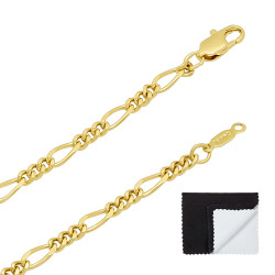 3mm-5mm 14k Yellow Gold Plated Flat Figaro Chain Necklace or Bracelet