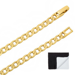 5mm 14k Yellow Gold Plated Flat Cuban Link Curb Chain Necklace + Gift Box