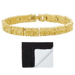 Gold Plated 7mm Wide Nugget Pattern Link Bracelet + Microfiber