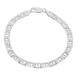 5mm-6mm .925 Sterling Silver Diamond-Cut Flat Mariner Chain Bracelet