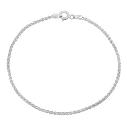 1mm-5mm Solid .925 Sterling Silver Braided Wheat Chain Bracelet