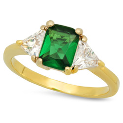 Gold Plated Emerald-Cut Forest Green CZ Three-Stone Ring + Microfiber