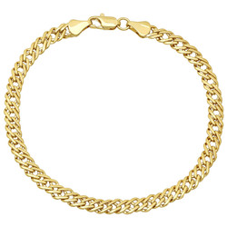 5mm-7mm Polished 0.25 mils (6 microns) 14k Yellow Gold Plated Cable Venetian Chain Anklet