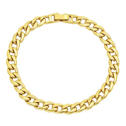 7mm-9mm Polished 14k Yellow Gold Plated Flat Curb Chain Bracelet