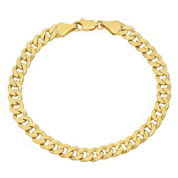 6mm-9mm Polished 14k Yellow Gold Plated Flat Curb Chain Bracelet