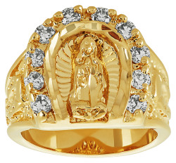 Men's 18mm 14k Yellow Gold Plated Clear Cubic Zirconia Flat Virgin Mary Ring + Gift Box