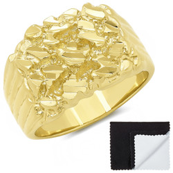 Men's 19mm 14k Yellow Gold Plated Nugget Pinky Ring + Gift Box