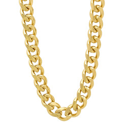 4mm-14mm 14k Yellow Gold Plated Flat Cuban Link Curb Chain Necklace