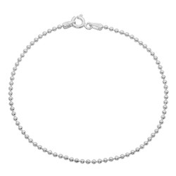 1mm-5mm Solid .925 Sterling Silver Ball Military Ball Chain Bracelet